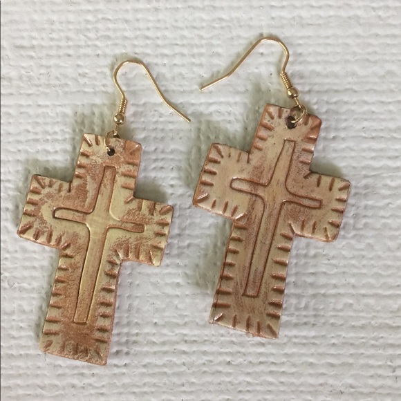 CowgirlZ at HEART Jewelry - CUTE TOOLED LEATHER CROSS EARRINGS ON FRENCH WIRES